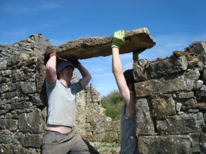 lintel comes down by stages