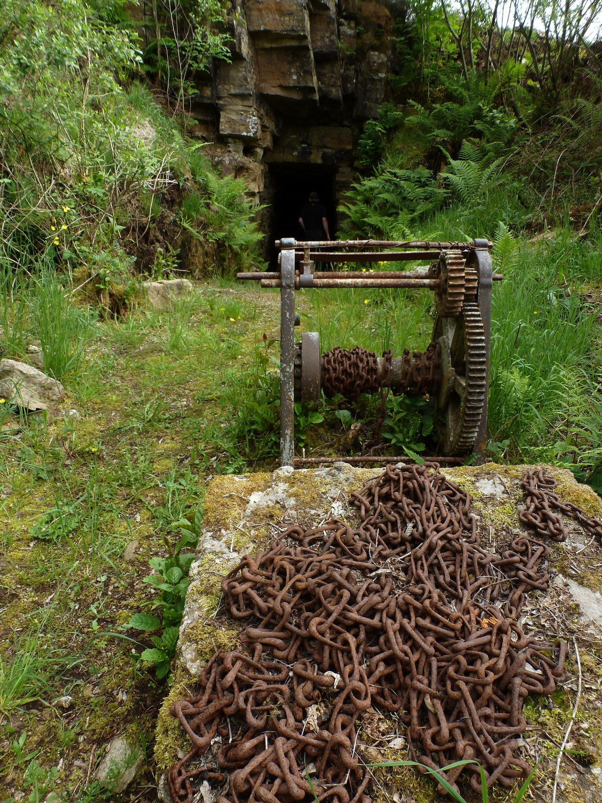 mine entrance with winch